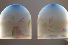 Les peintures à l'huile ont été réalisées par Michel Lefebvre à partir de cartons réalisés à l'aquarelle par Folon.